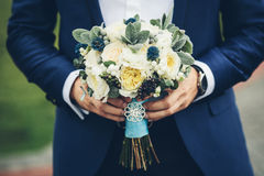 Bridal bouquet with with white roses Royalty Free Stock Photos