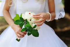 Bridal bouquet of white roses Royalty Free Stock Photo