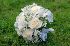 Bridal bouquet of white roses Stock Photo