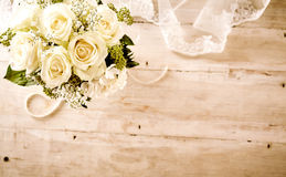 Bridal Bouquet with White Roses and Lace Veil Royalty Free Stock Photos
