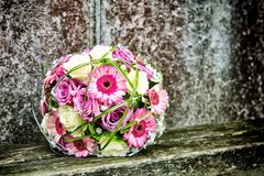 Bridal bouquet. On a wooden bench Royalty Free Stock Photo