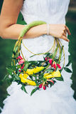 Bridal bouquet with yellow lilies Stock Photos