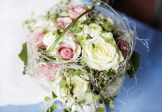 Bridal bouquet of yellow and pink roses Stock Photos