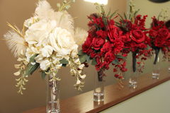 Bridal Bouquets in Vases. Bride and Bridesmaids Bouquets in preparation for wedding Royalty Free Stock Images