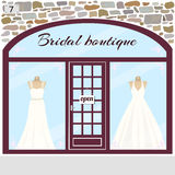 Bridal boutique. Wedding shop building facade of stone. Dummies in bridal dresses in the shop window.Vector illustration eps 10 Stock Photo