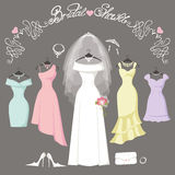 Bridal and bridesmaid dresses.Fashion background Stock Images