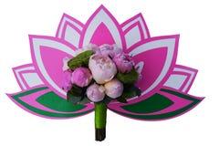 Bridal bukiet z lotosami i peoniami na lotosowym emblemacie obrazy stock