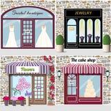 Bridal butik, biżuteria, kwiaty i zasycha sklep Fotografia Royalty Free
