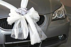 Bridal car. Silver bridal car with silver & white ribbon Stock Photo