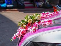 Bridal car decorated with flowers in turkey stock image