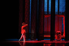 The bridal chamber-The first act of dance drama-Shawan events of the past Stock Photos
