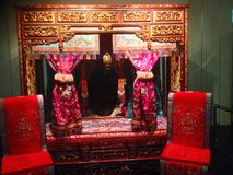 Bridal chamber. A traditional bridal chamber in the Peranakan Museum in Singapore Royalty Free Stock Photography