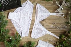 Bridal Christmas lace lingerie set. White bra and panties set on Royalty Free Stock Images