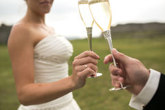Bridal couple clink glasses of champagne Royalty Free Stock Photos