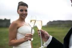Bridal couple clink glasses of champagne Stock Photography