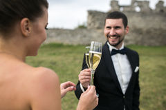 Bridal couple clink glasses of champagne Stock Photos