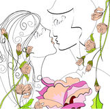 Bridal couple with flowers. Universal template for greeting card, web page, background Royalty Free Stock Images