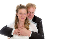 Bridal couple in front of white background Stock Images