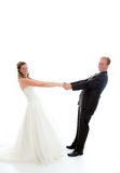 Bridal couple in front of white background Stock Photo