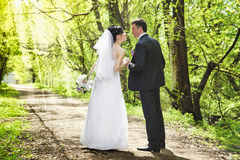 Bridal couple, Happy Newlywed woman and man embracing in green park. Royalty Free Stock Photos
