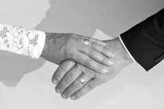Bridal couple holding hands Royalty Free Stock Photo