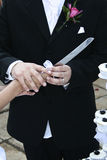 Bridal couple holding knife Royalty Free Stock Photo