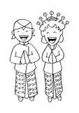 Bridal couple java. stock illustration