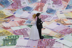 Bridal Couple and Money Royalty Free Stock Photography