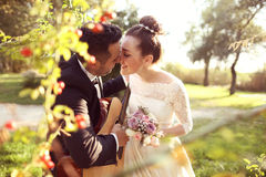 Bridal couple in nature Royalty Free Stock Photos