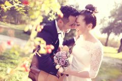 Bridal couple in nature Royalty Free Stock Images