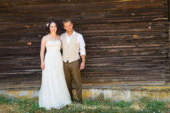 Bridal Couple Portraits with Copy Space Royalty Free Stock Photography