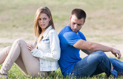 Bridal couple with problems. Couple sitting back with problems boyfriends Stock Photo