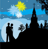 Bridal couple stand sorrounding by fireworks. Illustration Stock Image