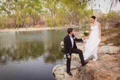 Bridal couple standing near lake Royalty Free Stock Photo