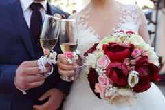 Bridal couple toasting glasses of champagne Royalty Free Stock Photography