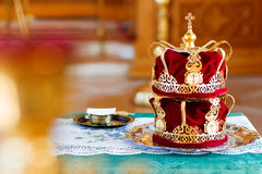 Bridal crowns. Sacral details of wedding ceremony in the Orthodox Christian Church. Stock Photography