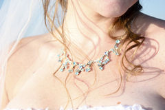Bridal details of necklace and curls Royalty Free Stock Photography