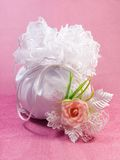 Bridal Dorothy Bag. Wedding purse in silk and satin in white Stock Photography