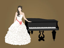 Bridal dress. And black grand piano Stock Images