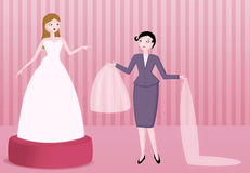 Bridal dress boutique illustration Stock Photography