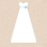 Bridal Dress. Elegant white dress illustration - symbol of a wedding on elegant lace background made in vector. Bridal illustration, Invitation template Royalty Free Stock Images