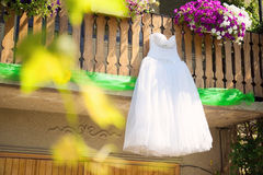 Bridal Dress on Fence Royalty Free Stock Image