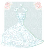 Bridal dress with floral ornament card Royalty Free Stock Images