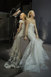 Bridal dresses on the mannequins is seen at A Toast To Tony Ward: A Special Bridal Collection. NEW YORK, NY - APRIL 20: Bridal dresses on the mannequins is seen Stock Image