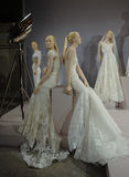 Bridal dresses on the mannequins is seen at A Toast To Tony Ward: A Special Bridal Collection Royalty Free Stock Photography