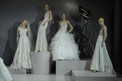 Bridal dresses on the mannequins is seen at A Toast To Tony Ward: A Special Bridal Collection. NEW YORK, NY - APRIL 20: Bridal dresses on the mannequins is seen Royalty Free Stock Photo