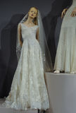 Bridal dresses on the mannequins is seen at A Toast To Tony Ward: A Special Bridal Collection. NEW YORK, NY - APRIL 20: Bridal dresses on the mannequins is seen Royalty Free Stock Photos