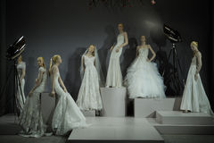 Bridal dresses on the mannequins is seen at A Toast To Tony Ward: A Special Bridal Collection Stock Photos
