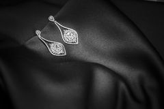 Bridal earrings. Two beautiful silver bridal earrings Stock Images