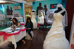 Bridal expo. Various bridal display at a mall atrium in Sukoharjo Central Java, Indonesia royalty free stock photo